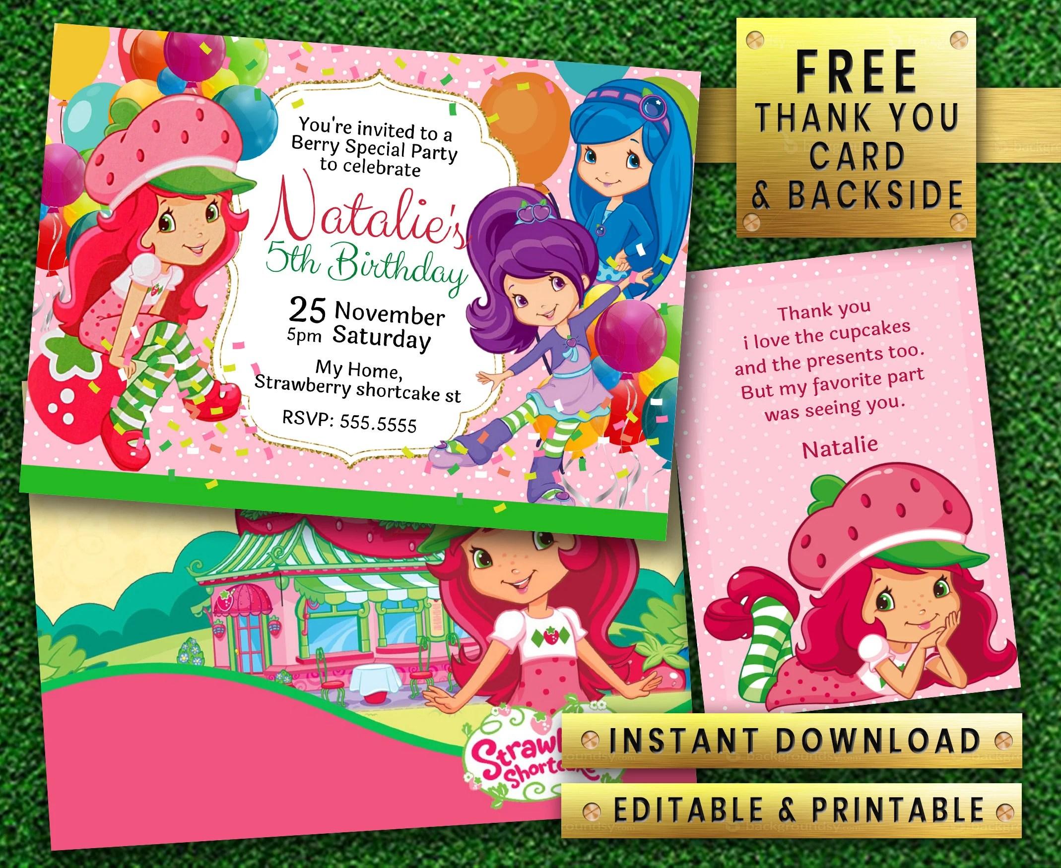 strawberry shortcake invitation etsy