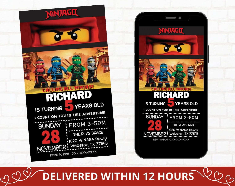 ninjago invitation etsy