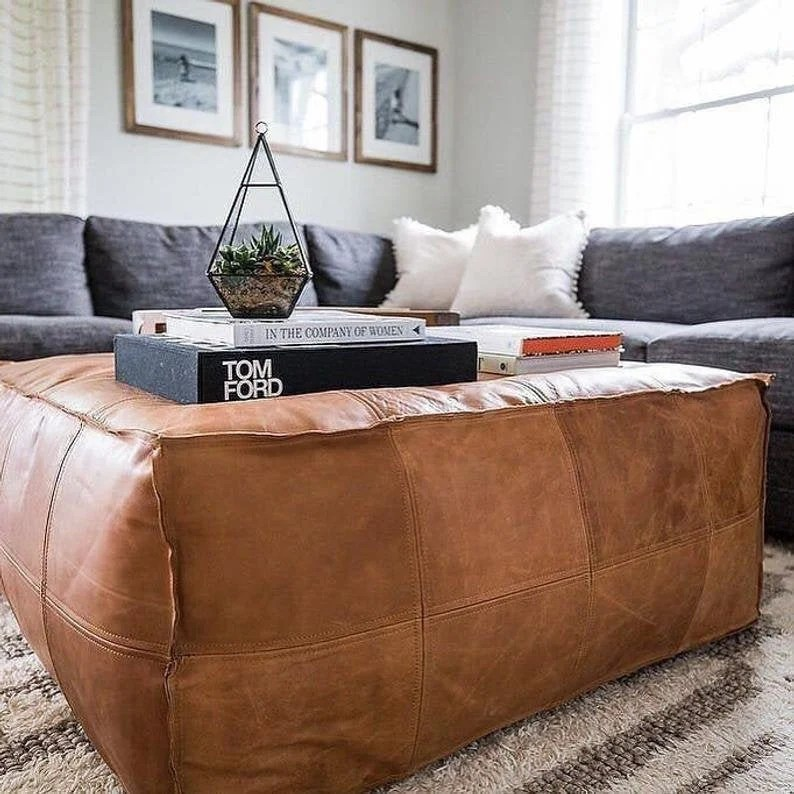 leather ottoman coffee table etsy