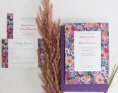 Posy Floral Flat Wedding Invitation with RSVP - Colourful floral wedding invitations - Floral border invitations