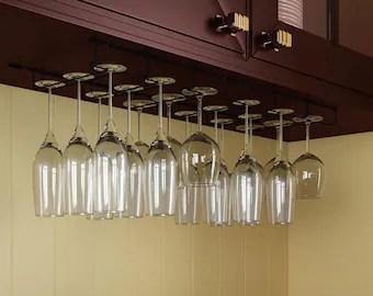 under cabinet wine glass rack etsy