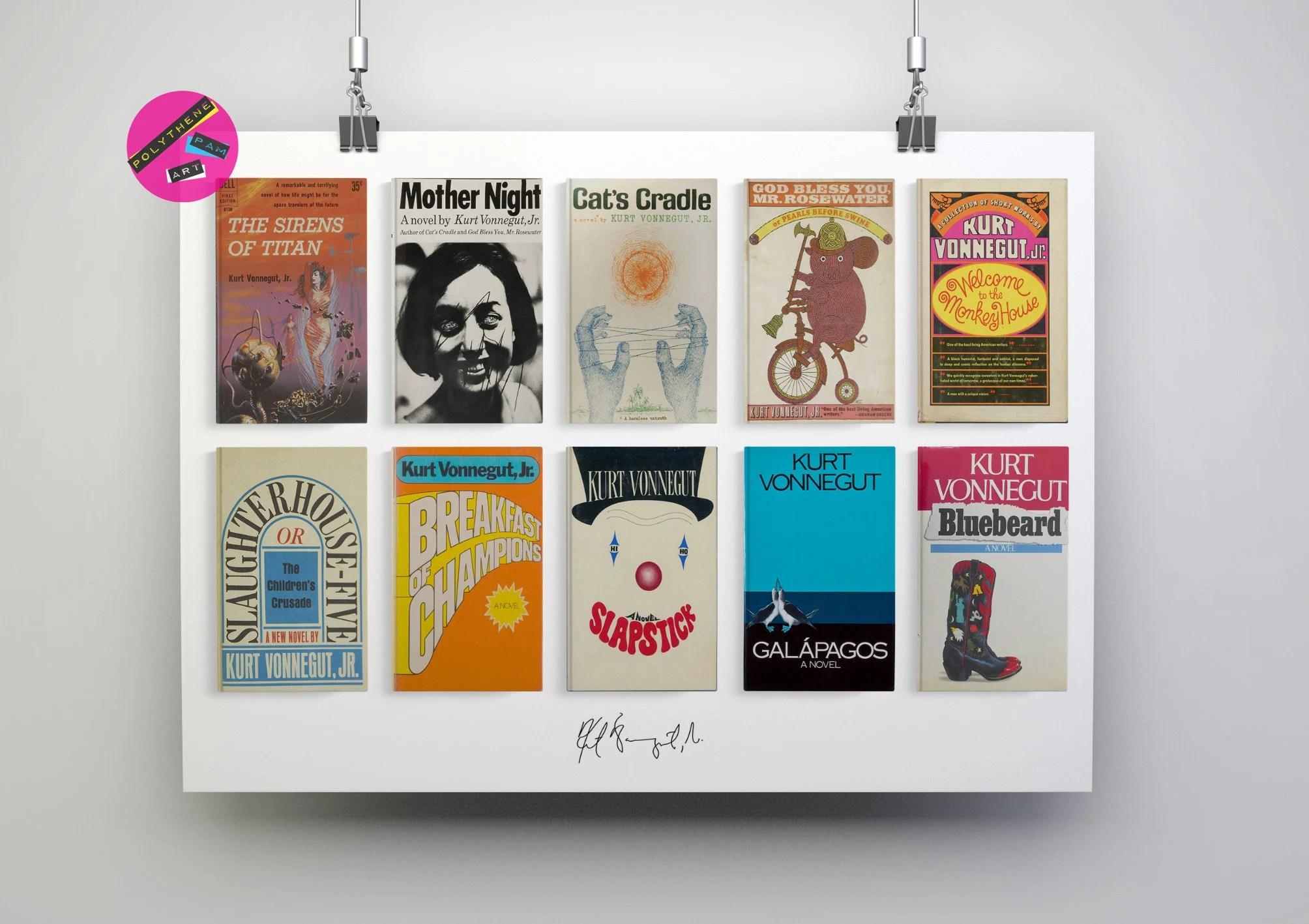 kurt vonnegut collected novels print poster art gift vonnegut fan slaughterhouse 5 breakfast of champions mother milk bluebeard