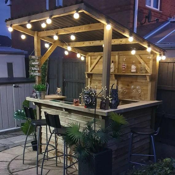 garden bar outdoor treated wood corrugated waterproof roof etsy