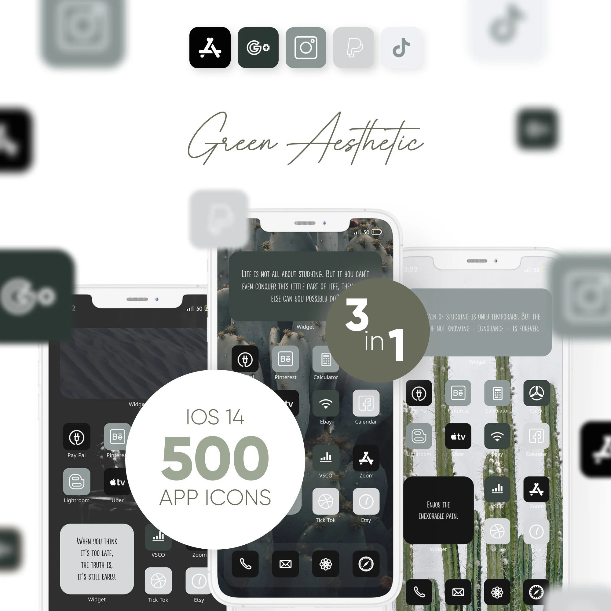 These gorgeous neutral icons that have such a dreamy palette: IOS14 APP ICONS Pack green cactus succulent neutral ...