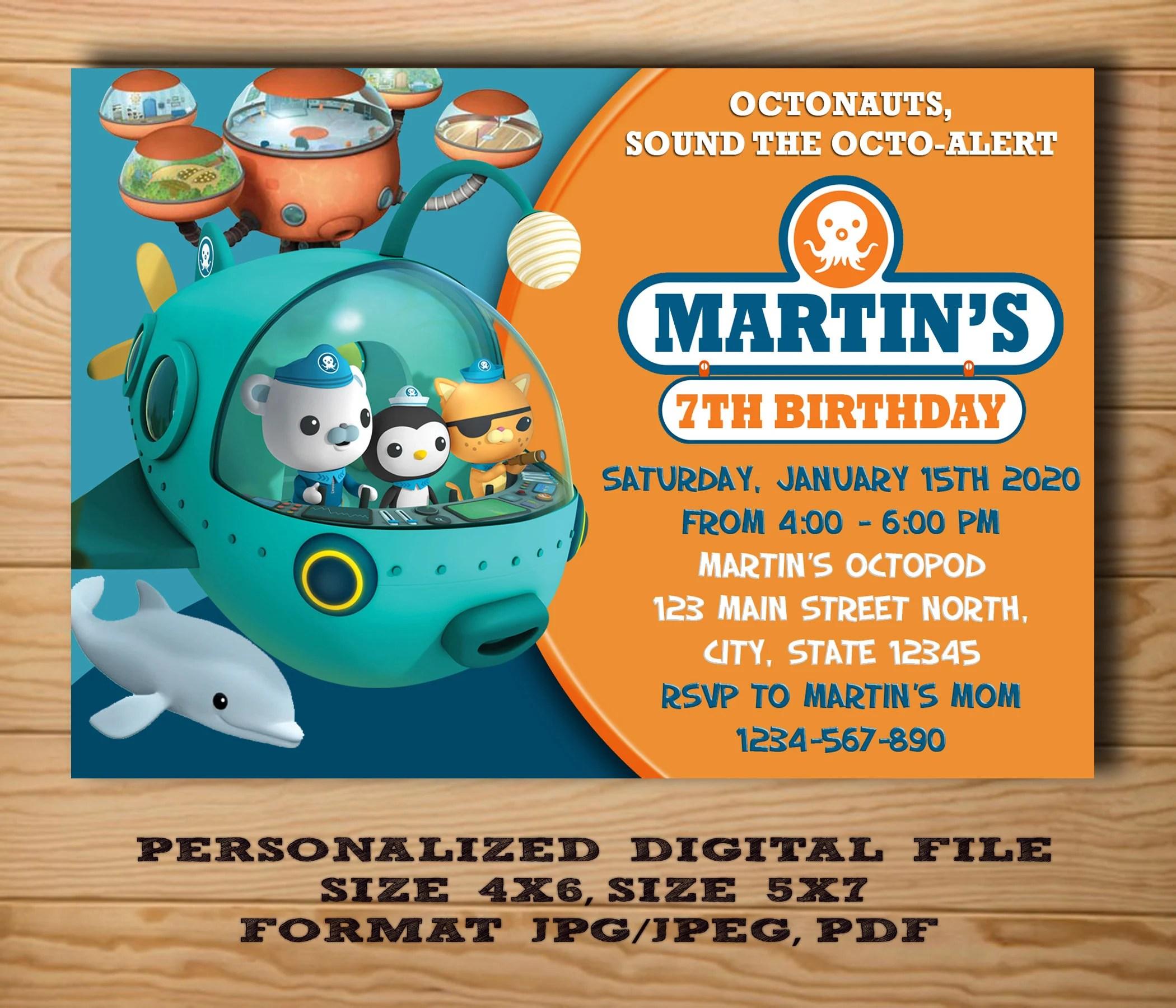 octonauts invitation etsy