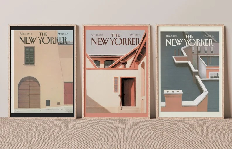New Yorker Magazine Vintage Prints Set of 3 A3 A4 Poster image 0