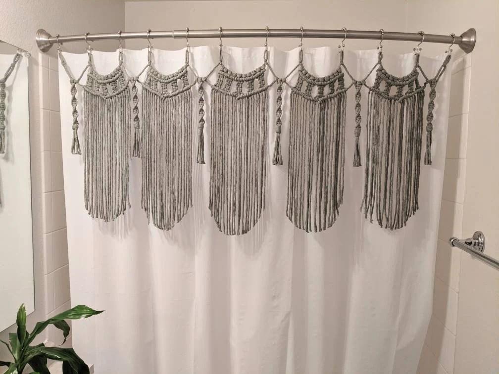 macrame shower curtain etsy