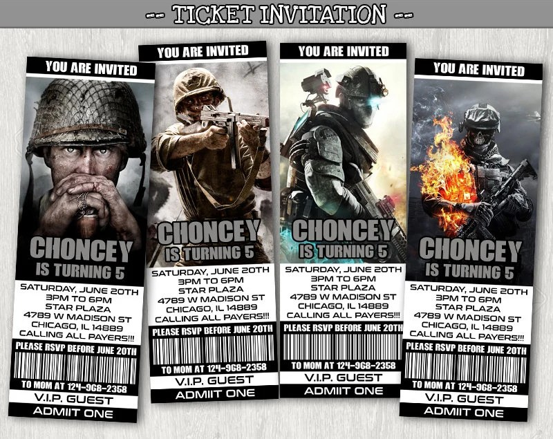 call of duty invitations etsy