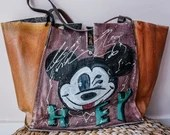 Mickey Cool Vintage Bag - Genuine Leather - Hand Painted - Made in Italy - VIntage Style