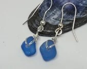 Cornflower blue beach glass earrings / simply handmade sea glass earrings / natural sea glass jewellery / love handmade real beach glass