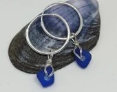 Cobalt sea glass earrings / blue sea glass earrings / blue sea glass jewellery / blue beach glass earrings
