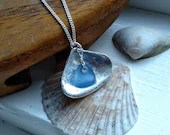 Fine silver shell necklace / scottish sea glass necklace / shell and sea glass necklace / real silver shell / silver shell jewellery