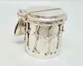 Garifuna drum / men's sterling silver pendant / men's pendant / men's silver pendant / men's silver chain