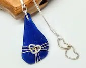 Cobalt blue sea glass necklace / gold heart necklace / sterling silver necklace / blue necklace