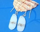 Milk white sea glass earrings / 9k gold hearts / heart earrings / silver earrings