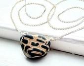 Amazing natural leopard print pebble silver necklace / silver pebble necklace / animal print necklace / jaguar print jewellery