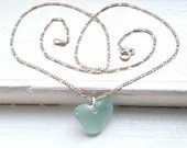 Aqua blue sea glass heart necklace / seafoam heart beach glass necklace / natural heart seaglass jewelry / heart-shaped sea glass pendant