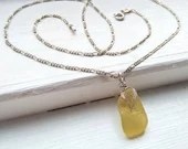 Golden yellow sea glass necklace / yellow beach glass necklace / rare yellow seaglass jewelry