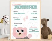 Child Birth gift, Printable gift for mum and dud, child stats,  custom birth picture, printable baby gift, cute bear, bear,newborn gift idea