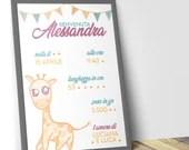 grafica nascita bambino, idee regalo bambino, file PDF da stampare per nascita, quadretto nascita bambino, idee regalo mamma, idea bimbi