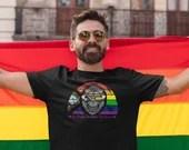 Savvy Sapien Classic Pride Flag Short-Sleeve Unisex T-Shirt - Happy Monkey, Smiling Monkey, Rainbow, BIPOC, Be Proud, Be Kind, LGBTQIA