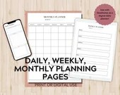Printable Daily, Weekly and Monthly Planning Pages, with Undated Printable Calendar