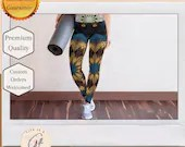 Green, Gold and Purple Mandala Yoga Leggings  with pocket - Athletic wear Leggings with Pocket