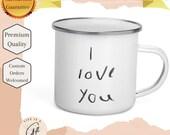 Personalized & Customized Enamel Mug - Add a photo or text to this mug - Great as a keepsake mug - family heirloom mug -  Camping mug