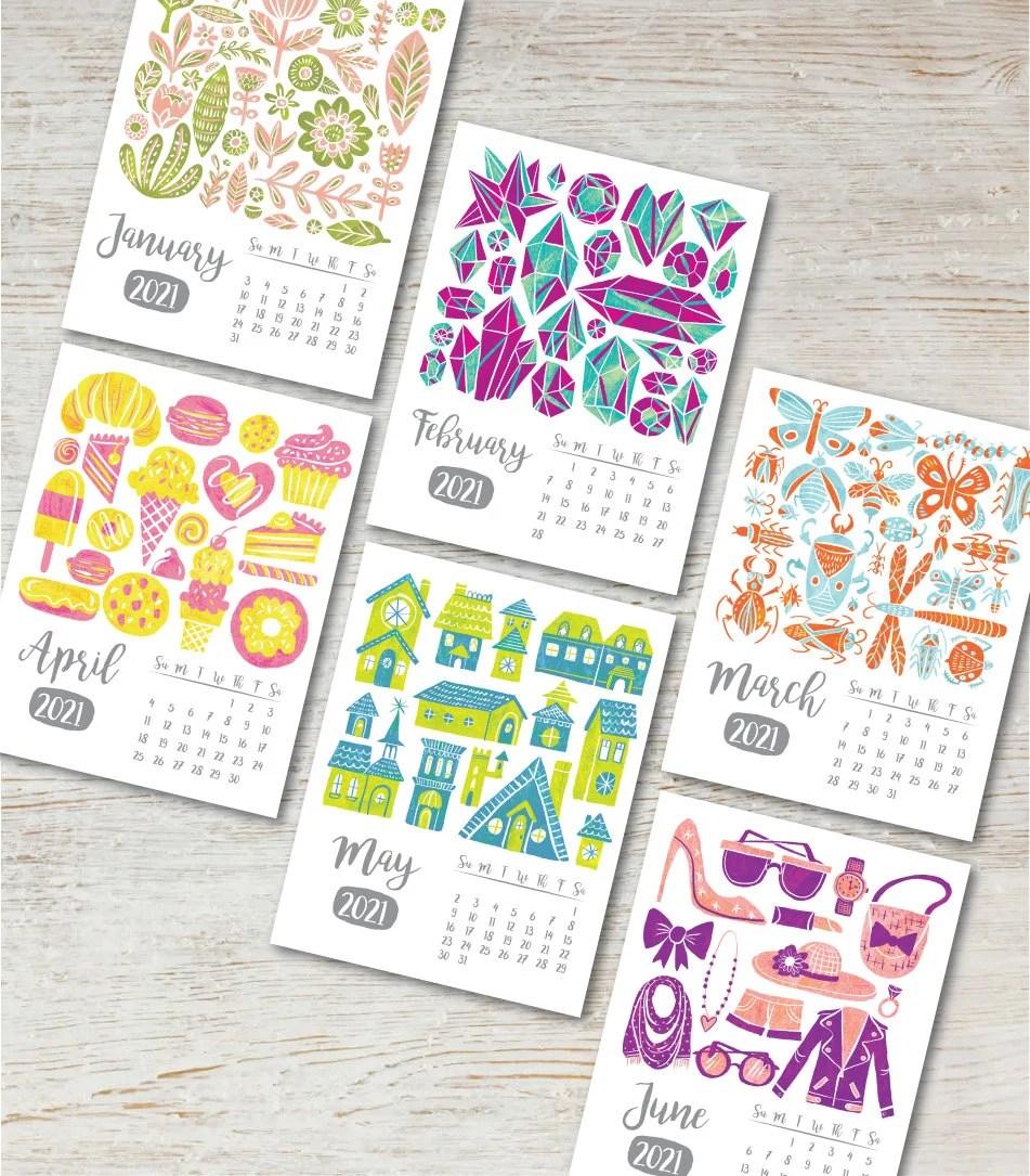 COLLECTIONS Printable Desk Calendar 2021 2022 Instant ...