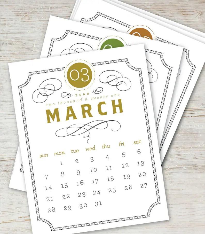 VINTAGE Printable Desk Calendar 2021 2022 Digital Instant ...