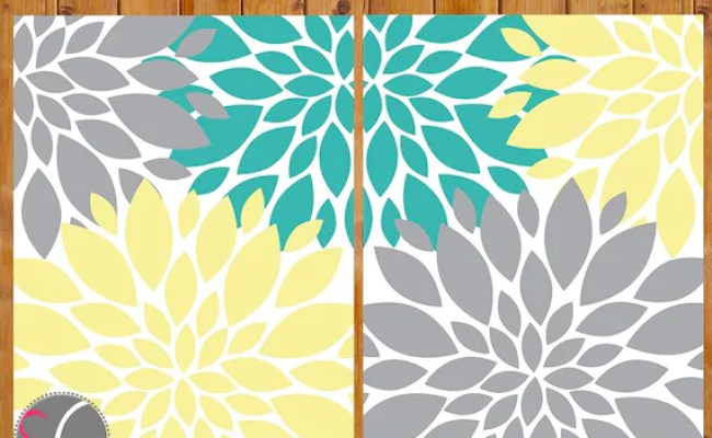 Floral Flower Burst Gray Yellow Teal Wall Baby Decor