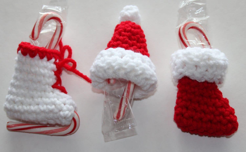 Mini Candy Cane Holder Christmas Ornaments Crochet Pattern