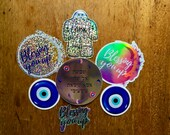 Blessings and Magick Sticker Set - Vinyl Glitter, Holographic,  Mirror Stickers - Waterproof