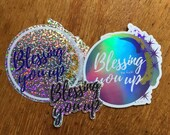 Blessing You Up Sticker Set - Glitter and Holographic Amulet Stickers - Waterproof