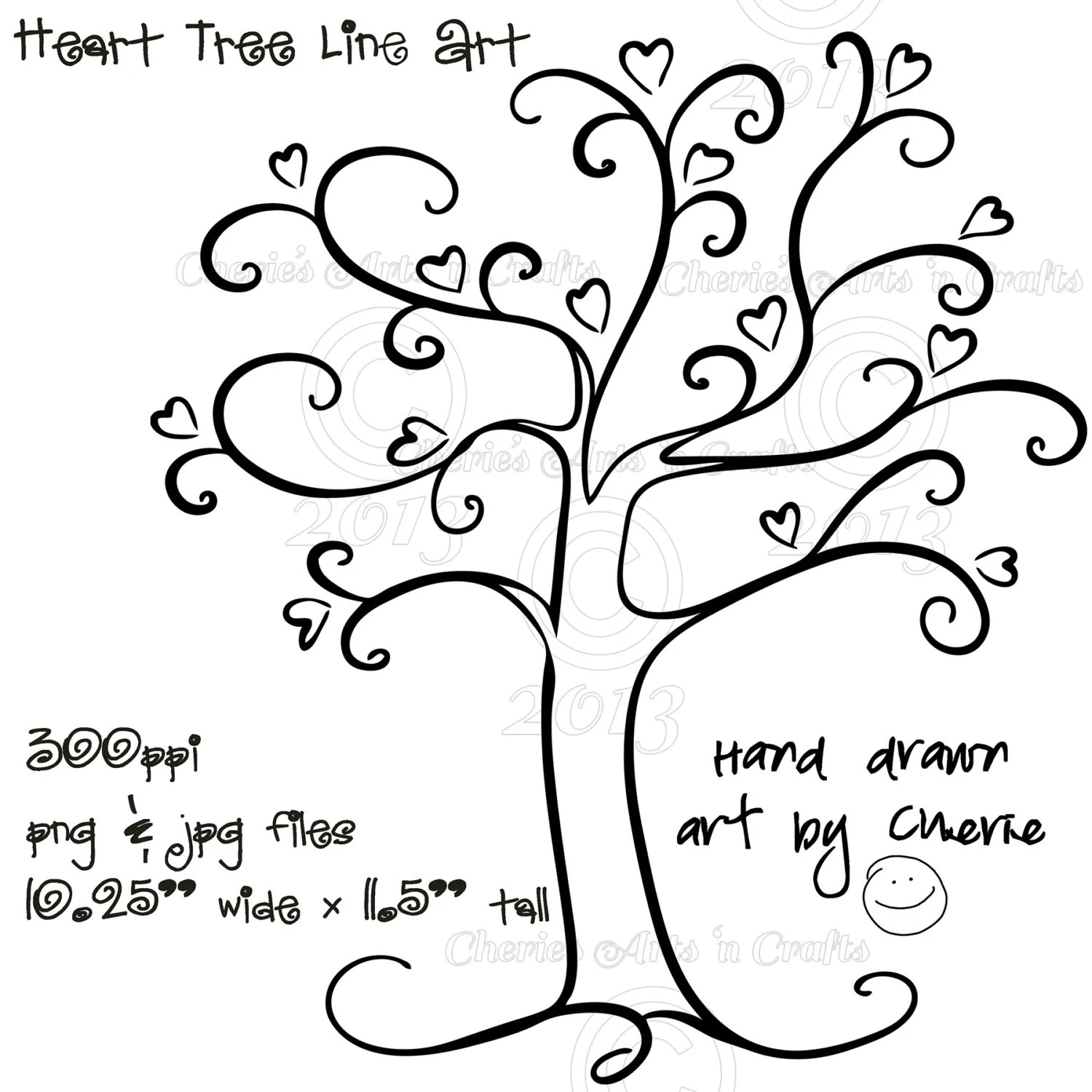 Heart Tree PNG and JPG Graphics Digital Download File Tree