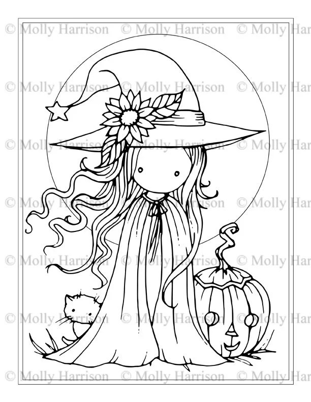 Tiny Witch and Cat Coloring Page Printable Whimsical Fun