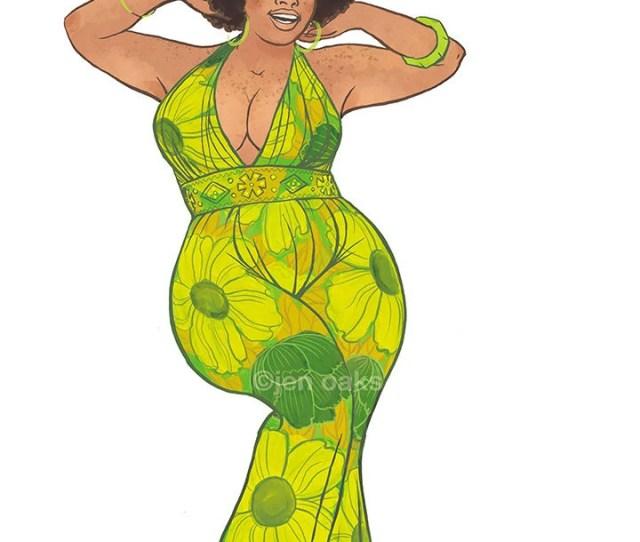 Green Flowered Curvy Pinup X Archival Pinup Print Black Babe Body Posi Plus Size Bbw Retro Jumpsuit