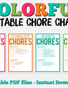 Image also colorful customizable chore chart pack instant download etsy rh