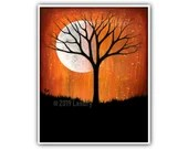 Phase V - Moon Tree Stars Art Print Bold Orange Black Signed Modern Artwork Home Decor Bright Modern Contemporary Painting 8x10 5x7 4x6 ACEO