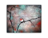 Watching Robin - Bird on Tree Branch Art Print Modern Painting Contemporary Abstract Artwork Bright Colors Red 8x10 5x7 4x6 ACEO Signed