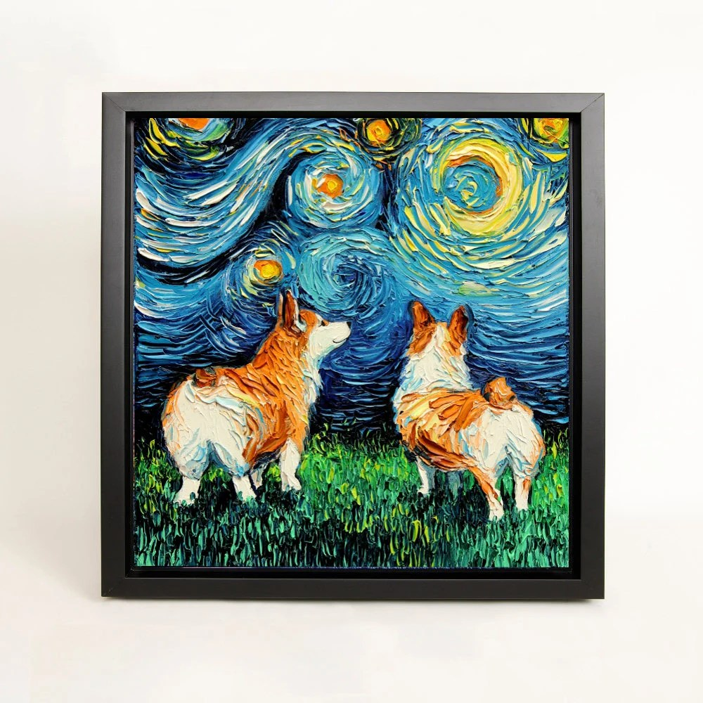 welsh corgi art framed