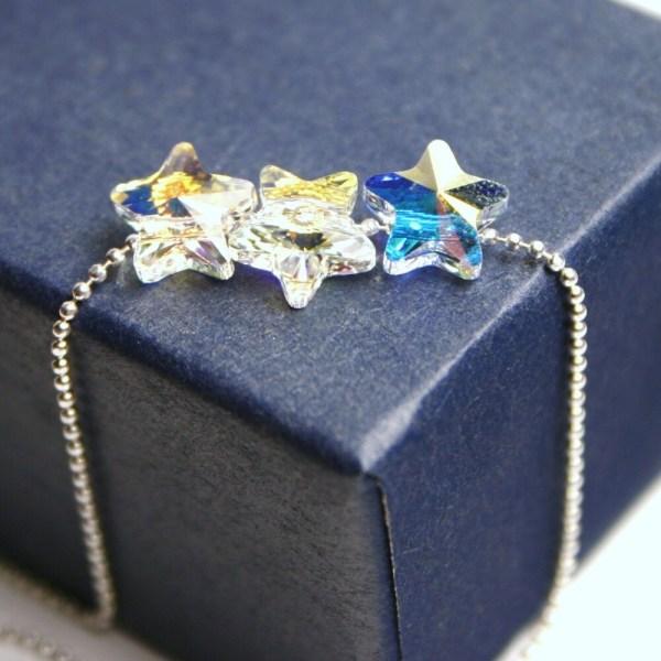 Crystal Star Necklace Swarovski Ab Pastel Rainbow Stacked