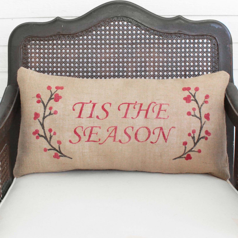Winter Berry Wreath With Holiday Saying Burlap Christmas Pillow Holiday Pillow Winter Decor Custom Tis The Season Merry Christmas