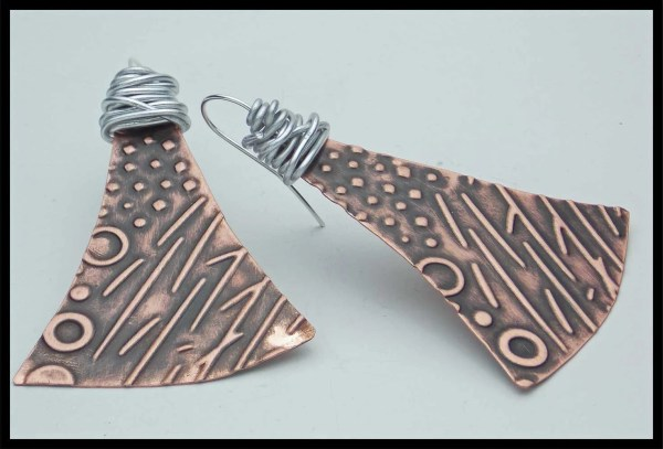 Mod Art Handforged Embossed Antiqued Wirewrapped Copper