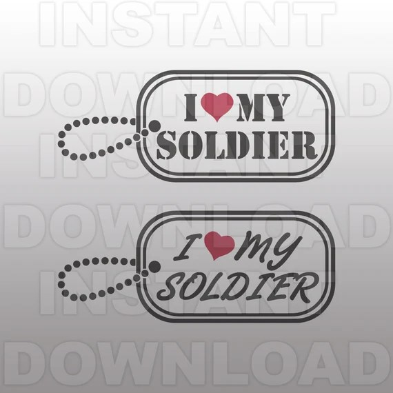 Download I love My Soldier Military Dog Tags SVG File cricut svg | Etsy