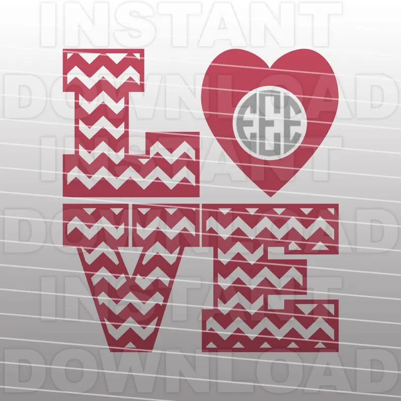 Download Valentines Monogram SVG FileChevron Love SVG FileCutting ...