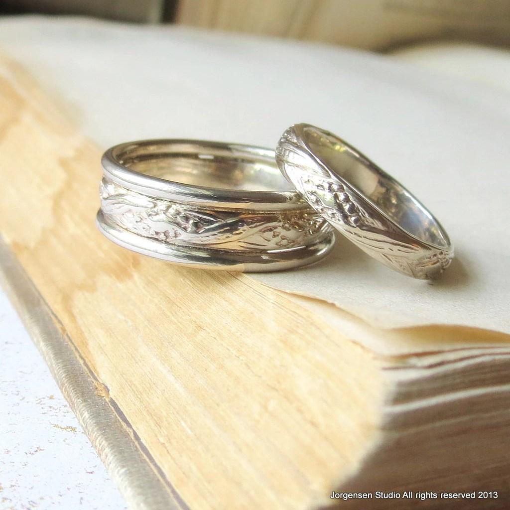 Boho Weigold Ehering Set passende Eheringe seiner und ihn