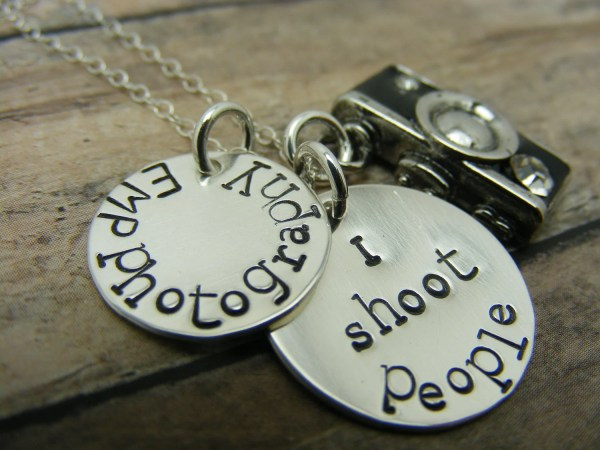 Camera Charm Handstamped Sterling Silver Discs Shoot
