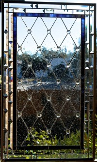 Diamond Grid Stained Glass Window Panel or Cabinet Door ...