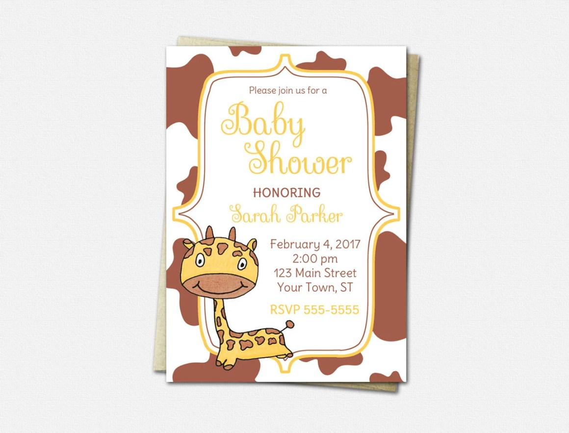 Giraffe Invitations - Bab...